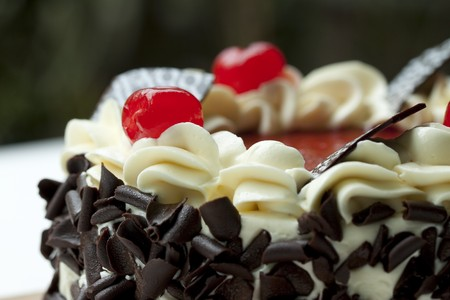 Blackforest, chocolate cake with cherries on it