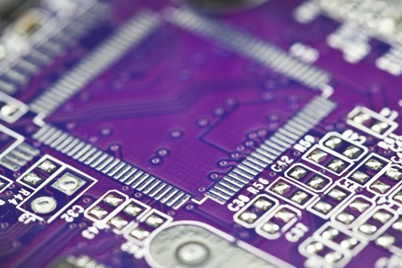 MagentaBlue electronic circuit close-up