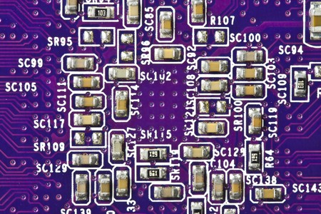 MagentaBlue electronic circuit close-up (Top View) photo