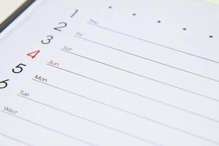 Planner calendar - close up Stock Photo
