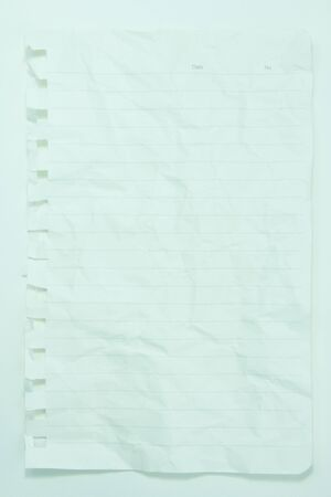 Wrinkled white round corner paper with line photo