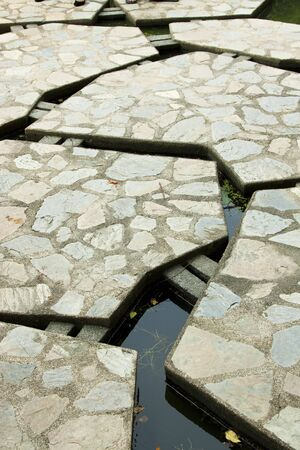 Abstract of concrete sidewalk over pond photo