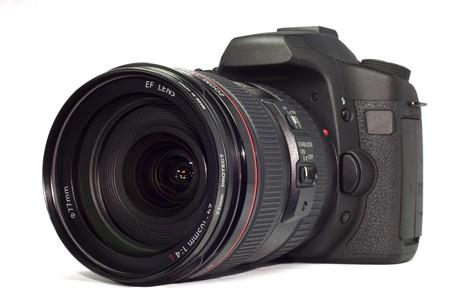 DSLR camera, isolated on white Stock Photo