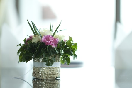 formal dinner party: Colorful flower on table