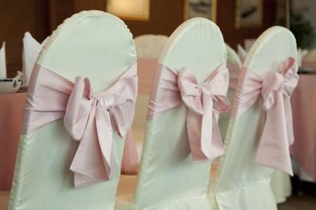 Empty wedding chairs elegantly decorated
