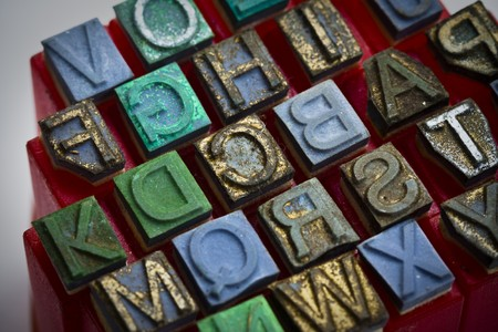 Dirty alphabet stamp, Block letters Stock Photo - 8172336