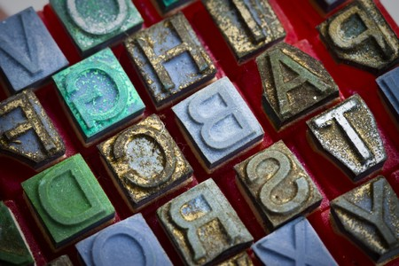 Dirty alphabet stamp, Block letters photo