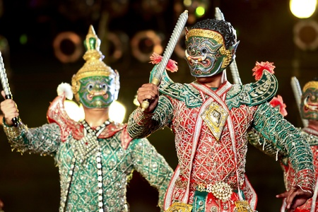 khon: Khon - Thai classical masked ballet  - Giant Soldier Stock Photo