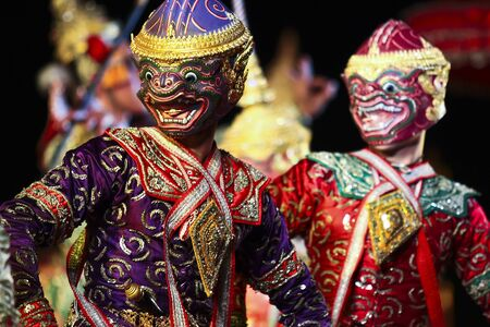 Khon - Thai classical masked ballet - Monkey soldier after the war Stock Photo - 8445046