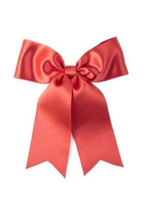 Red satin gift bow. Ribbon. Isolated on white  Stock Photo - 8445035