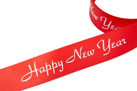 Red ribon with Happy New Year text Stock Photo