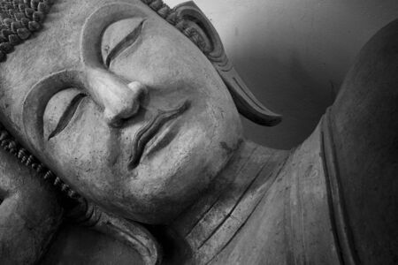 Face of budda statue, Black and white  photo