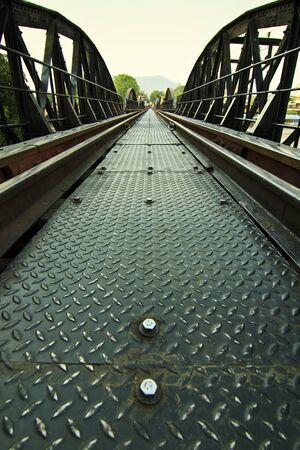 Metal railway bridge over Kwai river, Kanchanaburi Provice, Thailand