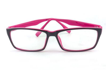 Black-Pink eye glasses isolated on white background  photo