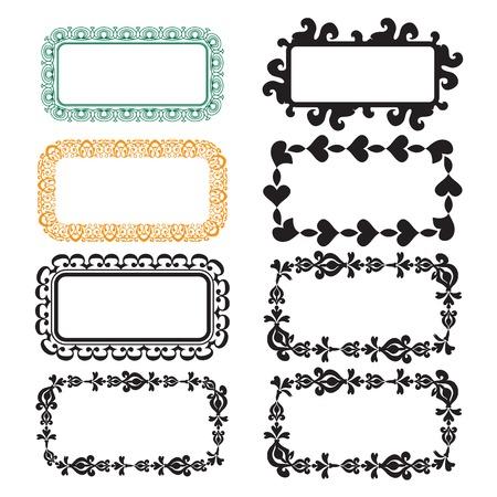 Set of black grunge frames isolated on white background. Vector