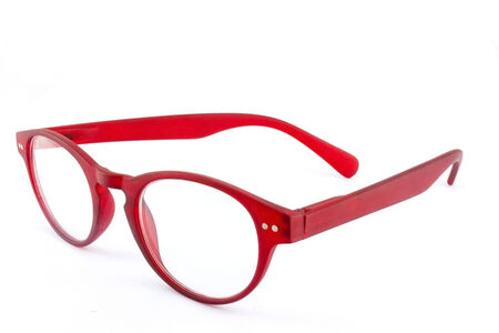 Red eye glasses isolated on white . photo