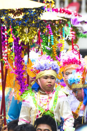 hosted: Chiang Mai, THAILAND-APRIL  6  Poi Sang long festival, a ceremony where boys become novice monk, during in parade around township  Poi Sang Long known as the  ordination ball  is an annual tradition of the kidney or Thailand, which has hosted legendary lo