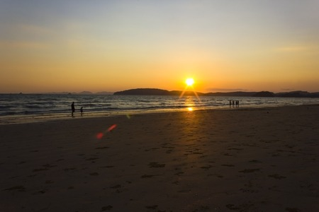 Sunset with sea and islands at Aonang, Krabi, Thailand  photo