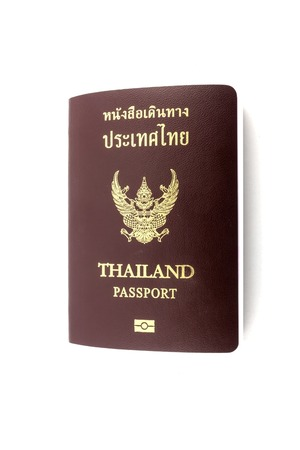 customs official: Close up Thailand passport on the white background.