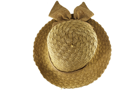 boater: Female summer straw hat with bow on white background.