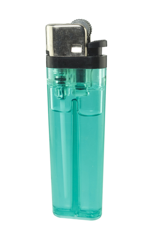 gas lighter: A used butane green lighter - Green lighter isolated on the white background.