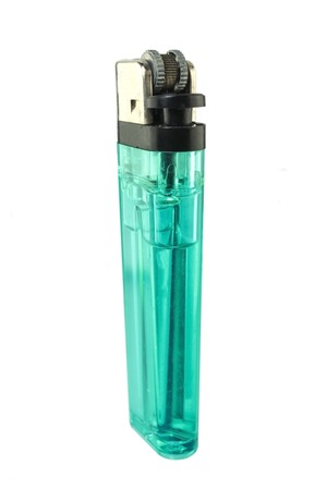 butane: A used butane green lighter - Green lighter isolated on the white background