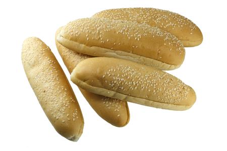 白い背景に分離された胡麻フランスパン。 写真素材 - 30483723