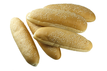 French bread with sesame seeds isolated on white background.
