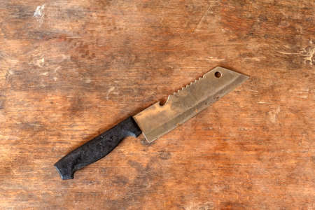 rustic kitchen: Knife, Knife on wooden background in rustic kitchen.