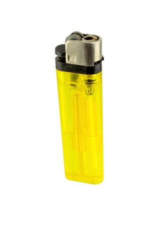butane: A used butane yellow lighter, yellow lighter on white background.