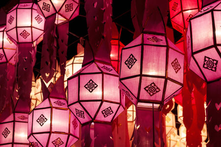Street lanterns during Loy Krathong festival at Chiang Mai Thailand. photo