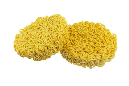 Instant noodles isolated on white . photo