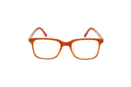 bifocals: Orange eye glasses isolated on white background. Stock Photo