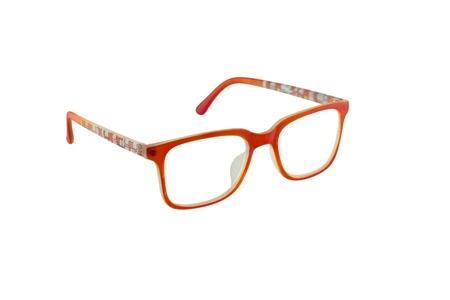 Orange eye glasses isolated on white background. Stock Photo