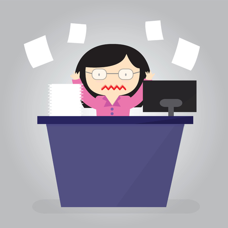 busy office: Women are stressed with work with a lot of paper work