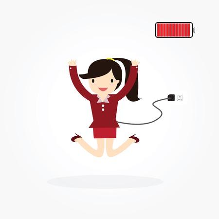 eager: Business woman charging batter. Business life worker Illustration