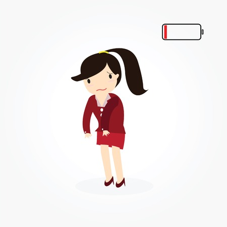 weary: Business woman with low battery