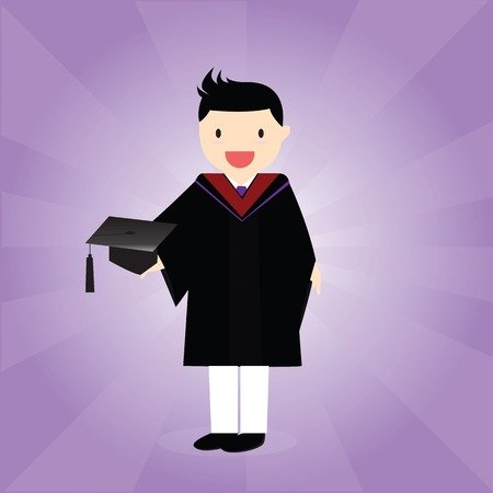 academic dress: Happy male graduate in academic dress holding mortarboard.