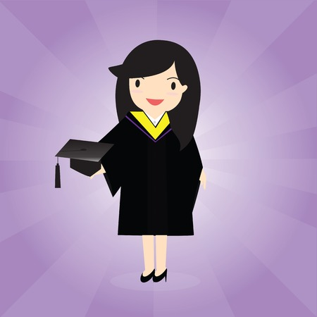 academic dress: Happy female graduate in academic dress holding mortarboard.