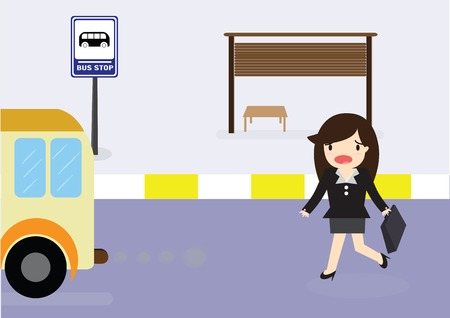 Business woman arriving too late at bus stop she runs the bus.