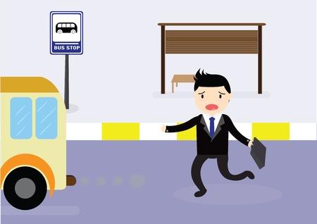 El hombre de negocios que llega demasiado tarde en la parada de autobús en el que se ejecuta el autobús.