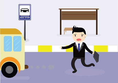Businessman arriving too late at bus stop he runs the bus.