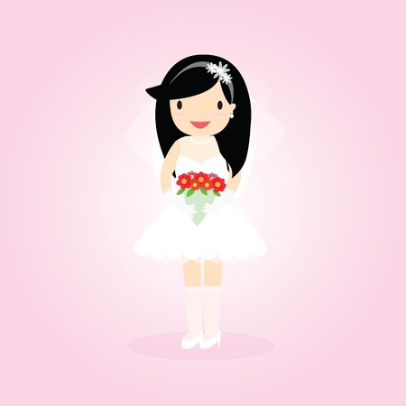cartooning: Cartooning bride on pink ornamental background. Illustration