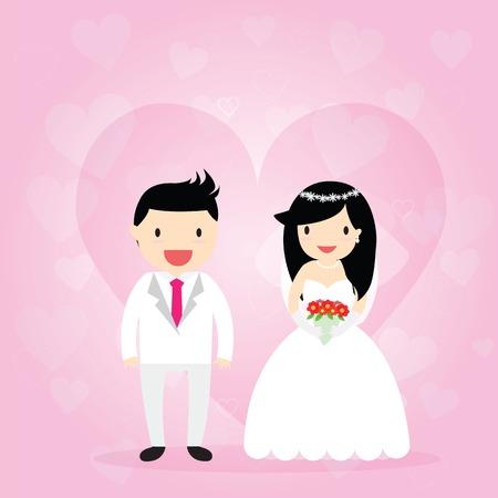 cartooning: Cartooning bride and groom on pink ornamental background.