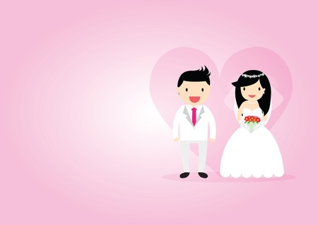 cartooning: Cartooning bride and groom on pink ornamental background.