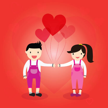 balloon girl: Boy give a heart balloon girl  he is in love holding .   Valentines Day card