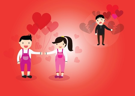 heartbreak: Boy and Girl in love as a result some boy was crying heartbreak of love.
