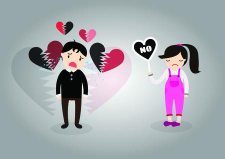 Girl dont love boy. She answer say no. Vector
