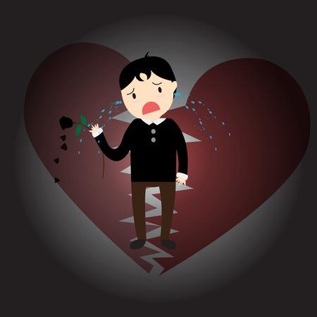 heartbreak: The boy was crying heartbreak of love.