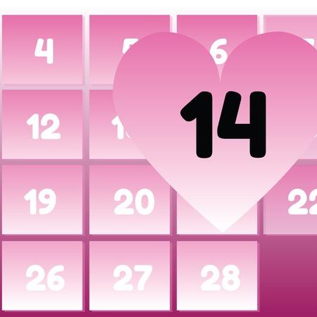 14 february: Valentines day. 14 February Valentines Day Calendar Date